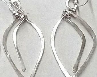 Hand Hammered Sterling Silver Leaf Earrings