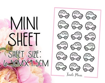 Mini sticker sheet: pastel cars | car stickers | pastel sticker | Perfect for your weekly planner, monthly planner, journal