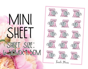 Mini sticker sheet: pink kitchen mixer | cooking stickers | baking stickers | Perfect for your weekly planner, monthly planner, journal etc.