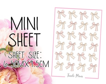 Mini sticker sheet: ribbon bows #1 | bow stickers | deco stickers | Perfect for your weekly planner, monthly planner, journal etc.