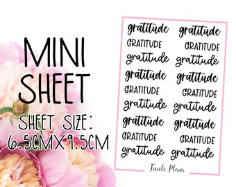 Mini sticker sheet: gratitude | Word stickers | Script sticker | daily gratitude | Perfect for your weekly planner, monthly planner, journal