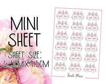 Mini sticker sheet: unicorn eyemask | sleepmask stickers | sleep stickers | Perfect for your weekly planner, monthly planner, journal