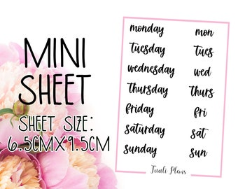 Mini sticker sheet: days #1 | Word stickers | Script stickers | days of the week | Perfect for your weekly planner, monthly planner, journal