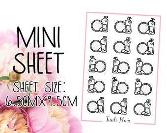 Mini sticker sheet: pastel dishes | chore stickers | pastel sticker | Perfect for your weekly planner, monthly planner, journal etc