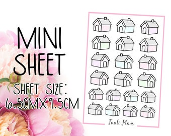 Mini sticker sheet: pastel houses | home stickers | pastel sticker | Perfect for your weekly planner, monthly planner, journal etc