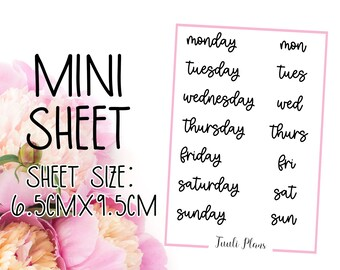 Mini sticker sheet: days #3 | Word stickers | Script stickers | days of the week | Perfect for your weekly planner, monthly planner, journal