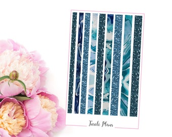 Planner stickers: washi strips - blue marble (not ec size) | Perfect for your filofax / erin condren planner etc