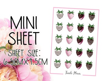 Mini sticker sheet: chocolate strawberries | sweets sticker | treat sticker | Perfect for your weekly planner, monthly planner, journal etc.