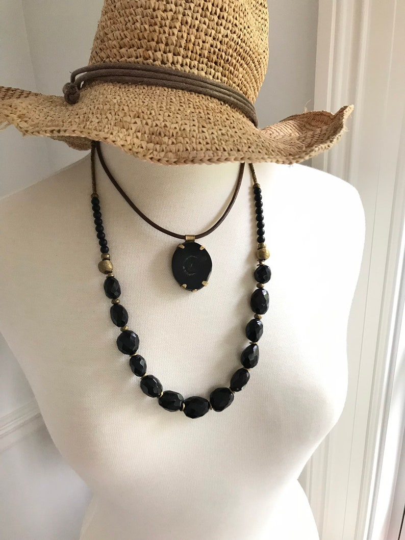 Onyx stone and brass necklace,Bohemian necklace,Handmade jewelry