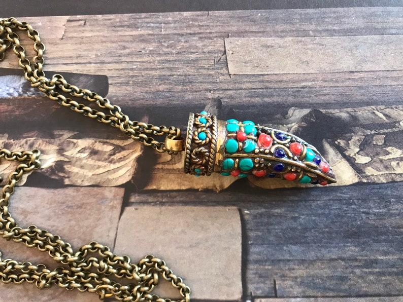 Tibetan tusk necklace,Brass rolo chain,Tusk pendant necklace,Handmade jewelry