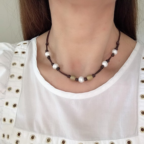 Freshwater pearls and Brass african beads,Good quality,Real brown leather knotted,Handmade choker,Brass metal lobster clasp