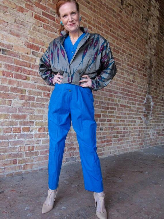 Blue 1980s jumpsuit