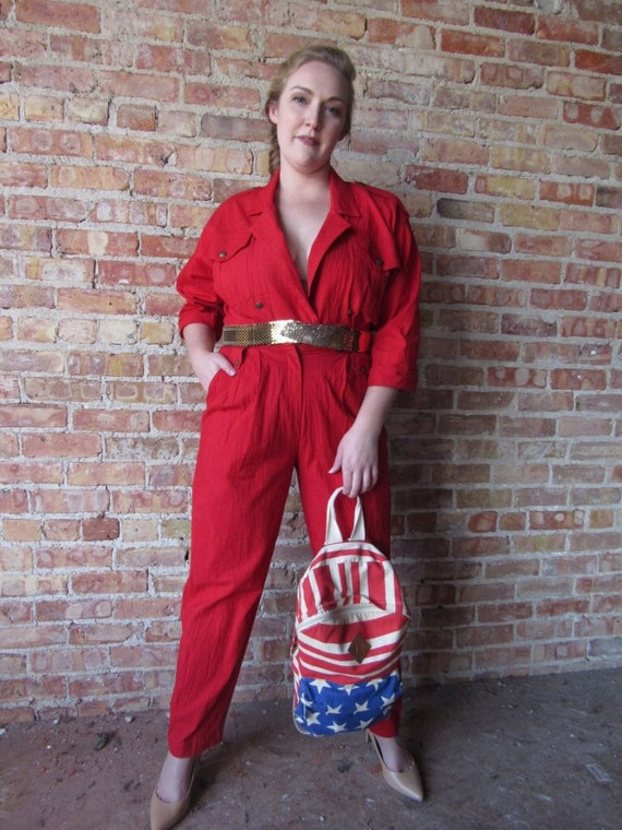 Red 1980s jumpsuit
