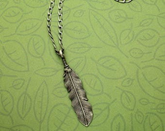 Feather Silver Necklace, Sterling Silver Feather Necklace, 18  Inch Rolo Chain, Lost Wax Casting