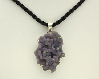 Grape Agate Necklace, Purple Grape Botryoidal Chalcedony in Sterling Silver Pendant, Black Cord