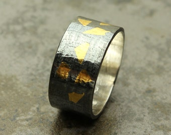 Keum Boo Ring, Sterling Silver 24KT Gold Band, Pattern, Custom Made Sterling Silver Ring