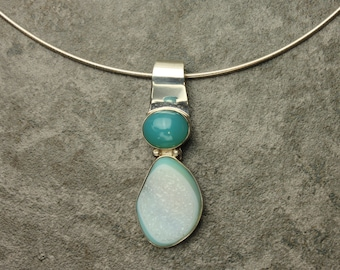 Caribbean Druzy Necklace, Caribbean Blue Chalcedony & Blue Druzy Cabochon in Sterling Silver