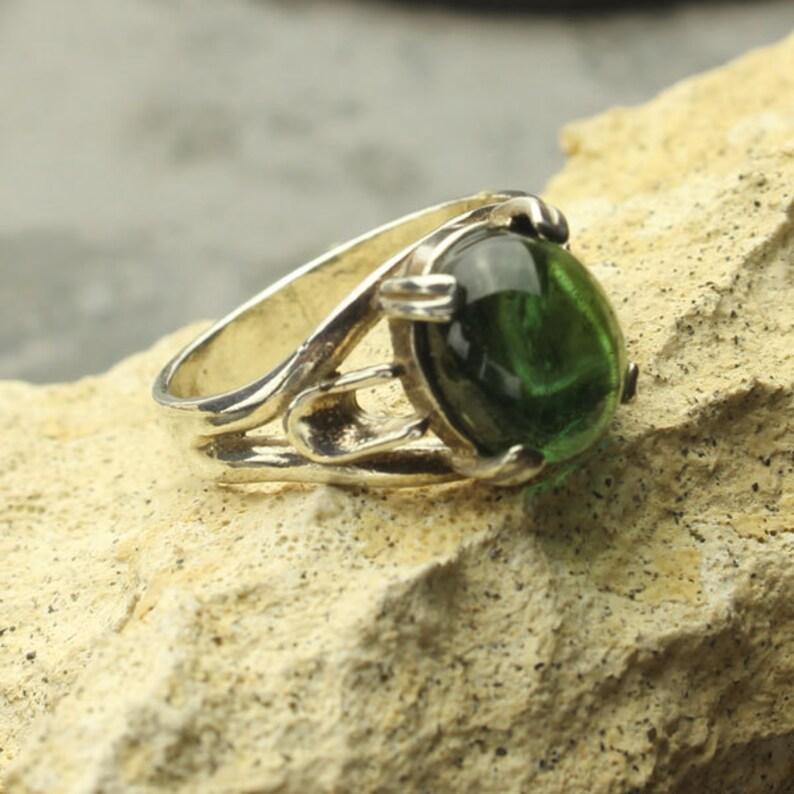 Green Tourmaline Ring Oval Verdelite Tourmaline Cabochon Sterling Silver Ring