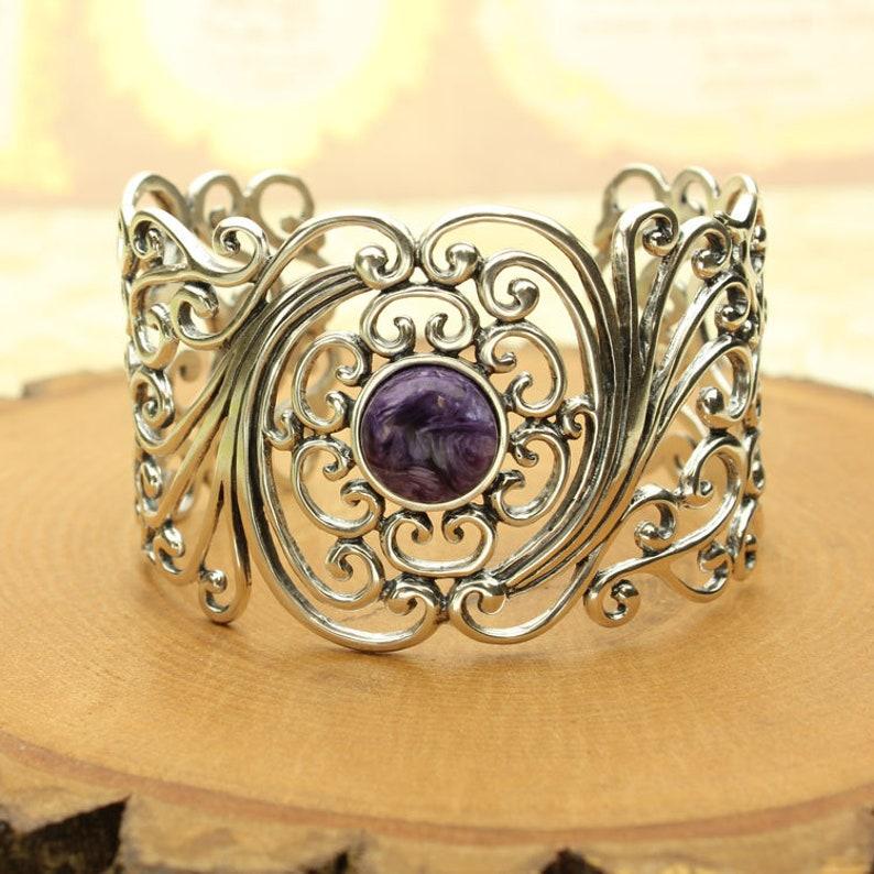 Charoite Cuff Bracelet Purple Charoite Round Cabochon Sterling Silver Filigree Cuff