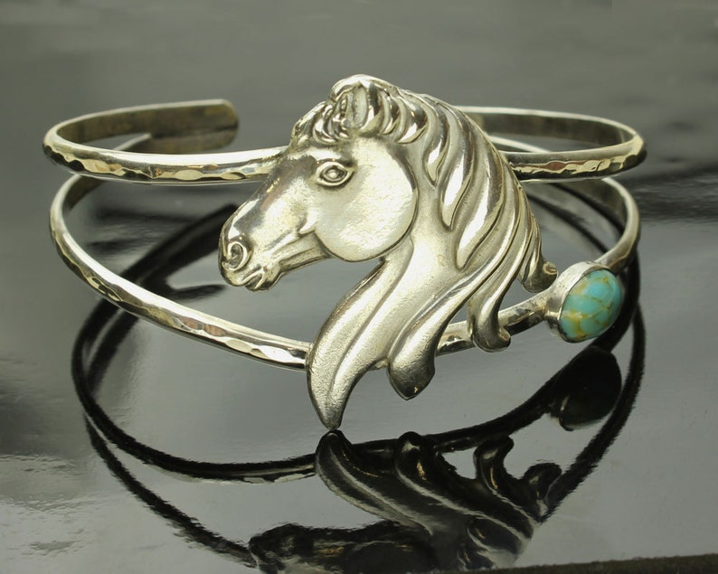 Sterling Silver Horse Stallion Mustang Cuff Bracelet Silver Horse Bracelet Turquoise Blue Cabochon Equine