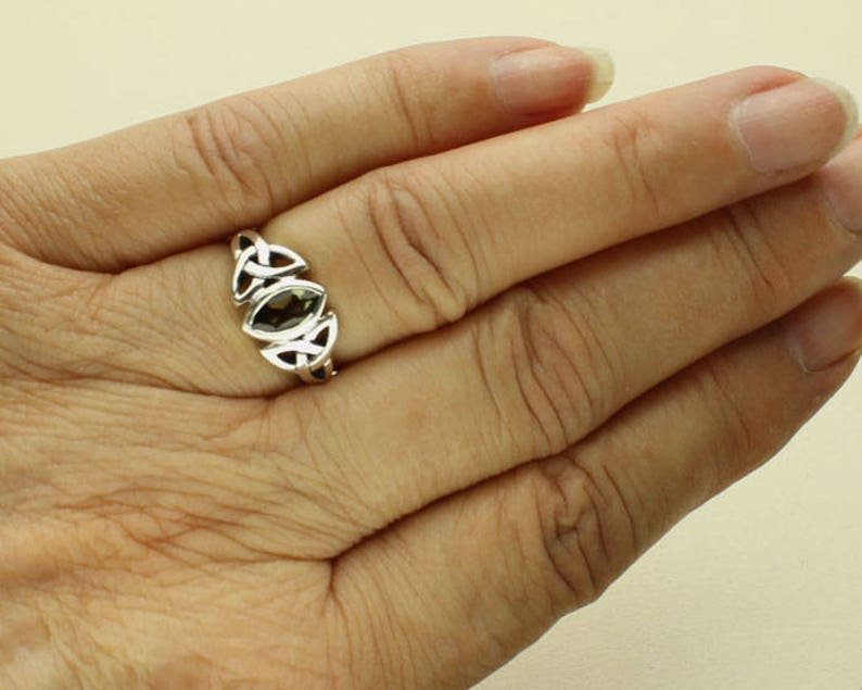 Celtic Knots Genuine Green Tektite in Sterling Silver Moldavite Silver Ring Certificate Marquis Moldavite Gemstone Meteorite Meteor