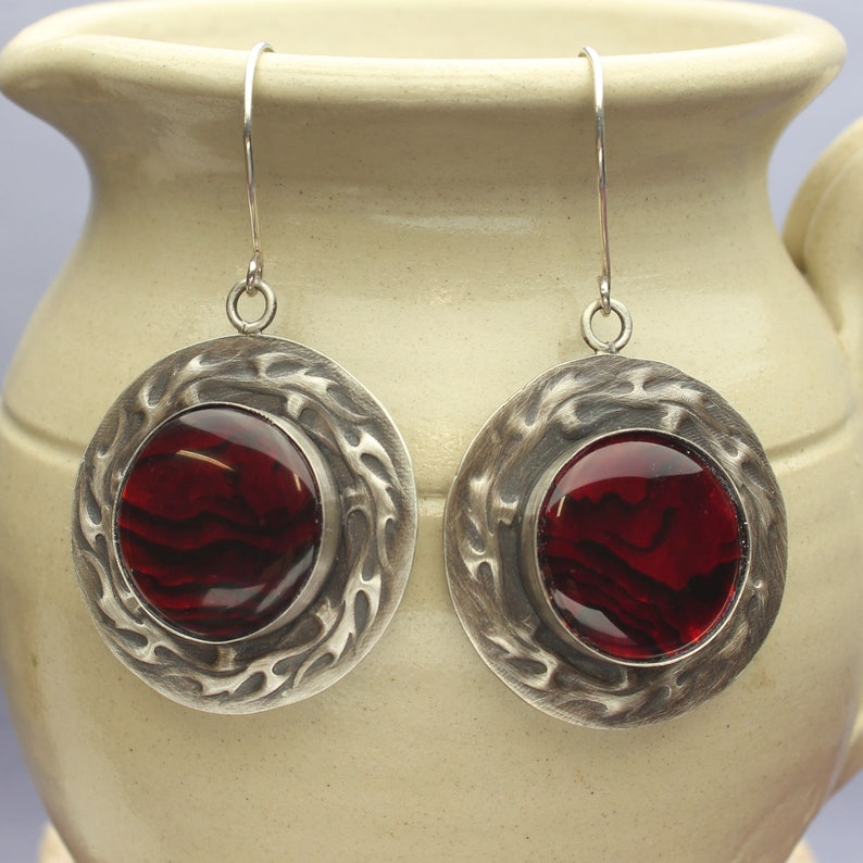 Sterling Silver Flame Dangle Earrings Red Paua Abalone Shell Cabochons Earrings On Fire Wire Hooks