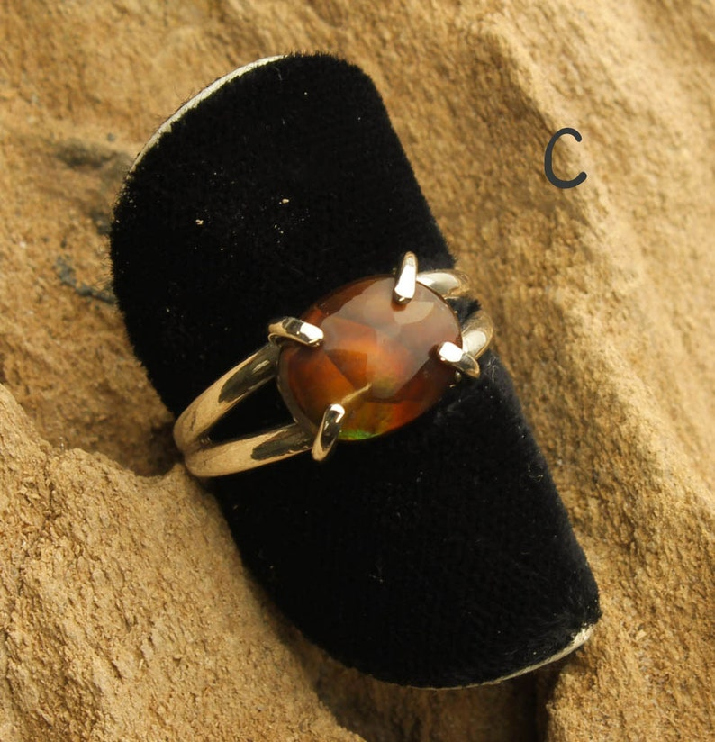 Fire Agate Ring Custom Sterling Silver Ring Natural Fire Agate
