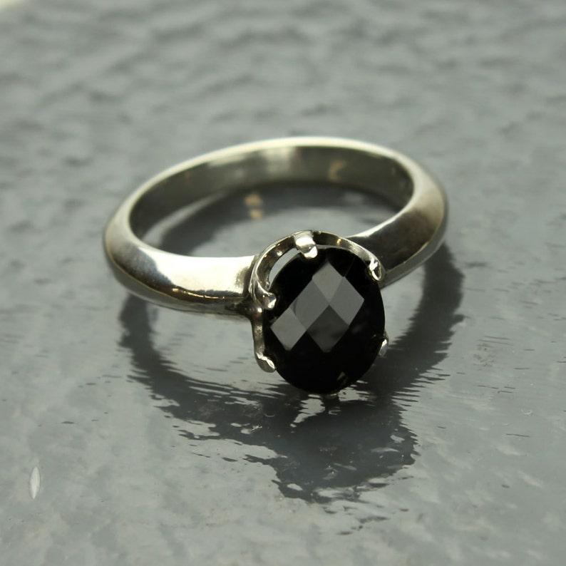 Faceted Ebony Black Spinel Gemstone Prong Sterling Silver Ring Black Spinel Ring