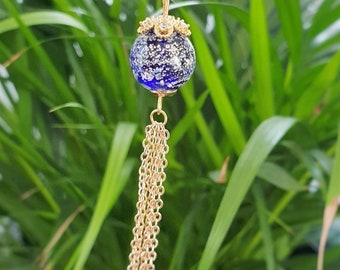 birthday gift Murano glass necklace on 24kt gold plated steel wire pink leopard pattern minimalist necklace 24kt gold foil