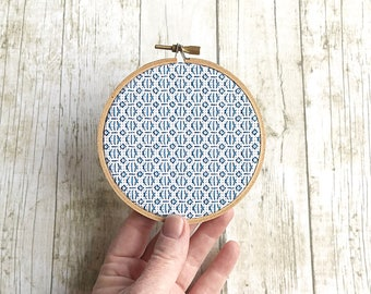 blue geometric embroidery hoop art/modern embroidery/blackwork embroidery/modern blackwork/blue wall art/blue wall hanging/textile art