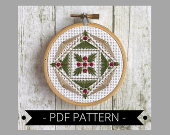 Embroidery pattern pdf/DIY PDF pattern/embroidered ornament/geometric embroidery/needlepoint pattern/downloadable pattern/diy hoop art