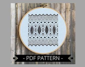 Embroidery pattern pdf/DIY PDF pattern/counted embroidery/geometric embroidery/needlepoint pattern/downloadable pattern/diy hoop art