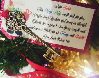 Santa Magic Key, Santa key, father Christmas key and personalised tag