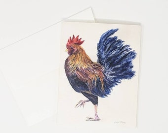 Rooster Notecards Blank Greeting Cards Rooster Art rooster painting watercolor art rooster stationary colorful rooster art gift for mom