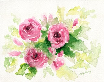 Roses In Bloom, original watercolor