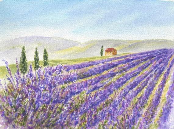 Lavender Field Watercolor Original Lavender Painting Etsy