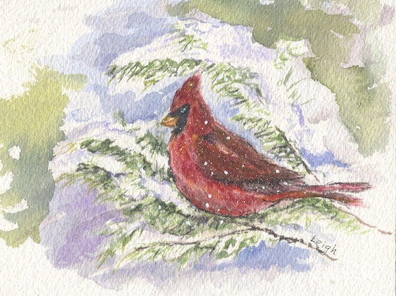 cardinal in snow watercolor bird painting red cardinal snow etsy