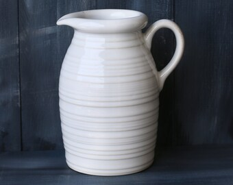 Ceramic pitcher or jug, pottery pitcher,white,15 cm high,660ml