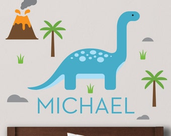 Apatosaurus Decal, Brontosaurus Decal, Dinosaur Decal, Dinosaur nursery, Dinosaur Wall, Custom Name Decal, Personalized Decal