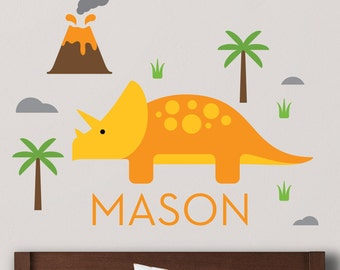 Triceratops Decal, Triceratops Wall Decal, Dinosaur Decals, Dinosaur nursery, Dinosaur Decal, Custom Name Decal, Personalized Decal