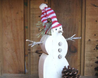 Woodland Snowman, Holiday Decor, Wood Snowman, Christmas Decor, Rustic Decoration, Shelf Sitter, Wooden Shelf Sitter, Natural Snowman