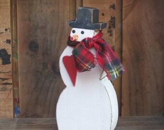Standing Snowman, Holiday Decor, Wood Snowman, Valentine's Day, Valentine Decor, Rustic Decoration, Shelf Sitter, Wooden Shelf Sitter, Heart