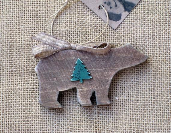 Hand Cut From Oak Bear Christmas Ornament
