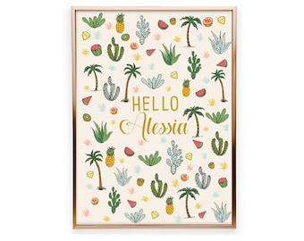 Tropic customizable poster, cactus, palms, fruits