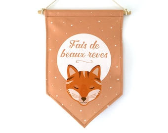 Decorative flag, Fox, birth gift, baby gift personalized gift