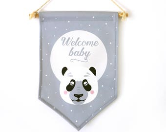Banners welcome baby panda, baby's room, nursery decor