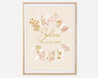 Customizable dried flowers poster, children's room poster