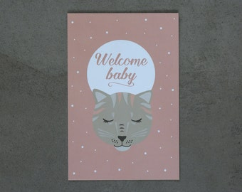 """Carte postale """"WELCOME BABY"""", chat, carte naissance, design scandinave"""