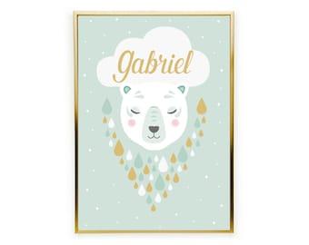 Customizable child poster, customizable poster, bear