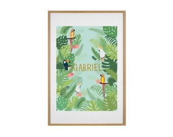 Poster jungle patterns, customizable, nursery, decoration